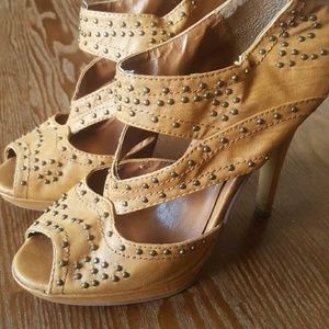 Shoes - Cognac Cage Heels with Studded Accents